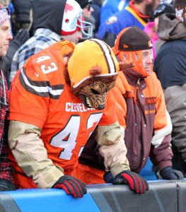 Cleveland Browns fans react during the second half of an NFL football game against the Buffalo Bills, Sunday, Dec. 18, 2016, in Orchard Park, N.Y. Buffalo won, 33-13. (AP Photo/Bill Wippert)