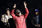 """FILE - In this Feb. 11, 2016 file photo, Kanye West gestures to the audience at the unveiling of the Yeezy collection and album release for his latest album, """"The Life of Pablo,"""" at Madison Square Garden in New York. (AP Photo/Bruce Barton, File)"""