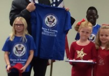 Gov. Nixon with gifts from Truman students