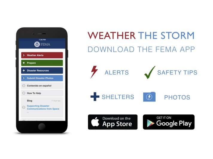 """A simplified, high-resolution version of the """"Weather the Storm: Download the FEMA App"""" promotional graphic, created June 2016.  For more info, visit fema.gov/mobile-app"""