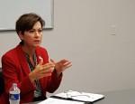 Reynolds speaks at the Iowa Workforce Development office Thursday in Burlington.