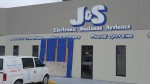 Damage to J&S Electronic Business Systems, the morning after a car crashed into the building.