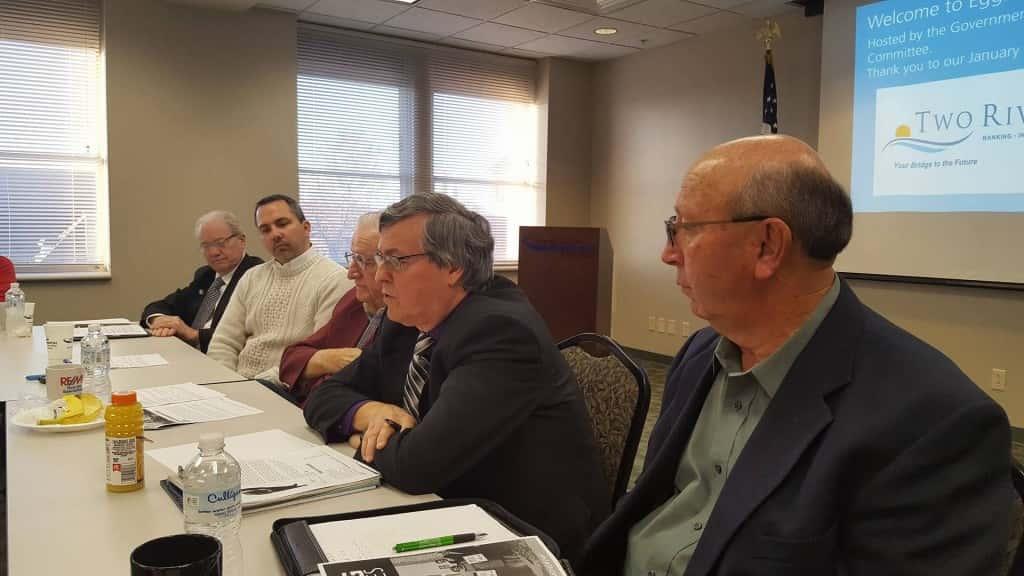 From left to right: State Senator Tom Greene, Greater Burlington Partnership CEO Jason Hutcheson, event moderator Rich Goughnour, State Representative Dennis Cohoon, State Representative David Kerr.