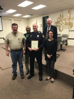 From left to right: Councilman Tim Scott, Mayor Shane McCampbell, Sgt. Joel Larkins, Councilman Jim Davidson, Councilwoman Annie Wilson.