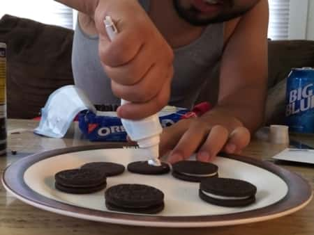 Replace the Oreo cream with toothpaste.