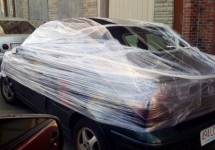 Saran wrap the car