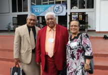 Vice Chairman for the CCCAS Rev. Elder Fa'itete Saifoloi (left) with new Chairman Rev. Elder Mamoe Eveni Jr. (middle) and wife after Saturday's election.