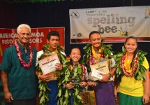 Spelling Bee winners with McDonald's rep, Larry Sanitoa