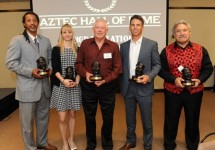 Ed Imo, far right, inducted into Aztech Hall of Fame