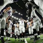 Ravens Huddle Before Saints Game