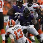C.J. Mosley eyes up Browns Quarterback Josh McCown (Photo from Baltimore Ravens)