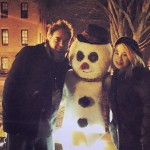 Tommy and Amber with Snowman