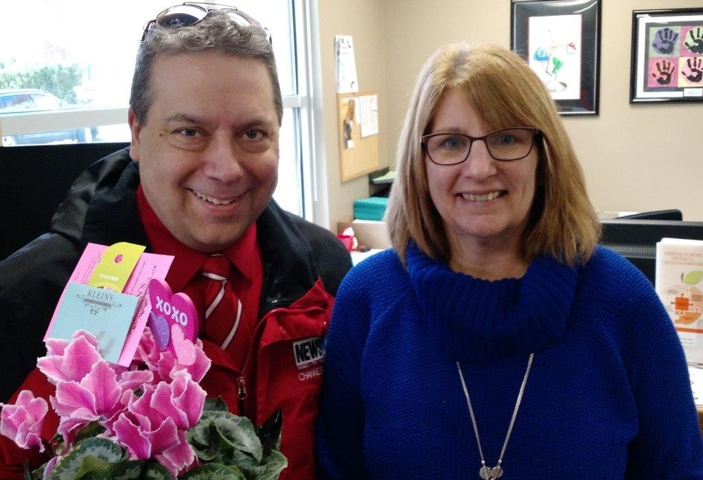 Gary with Lynn Schulz at the Oregon School District Office