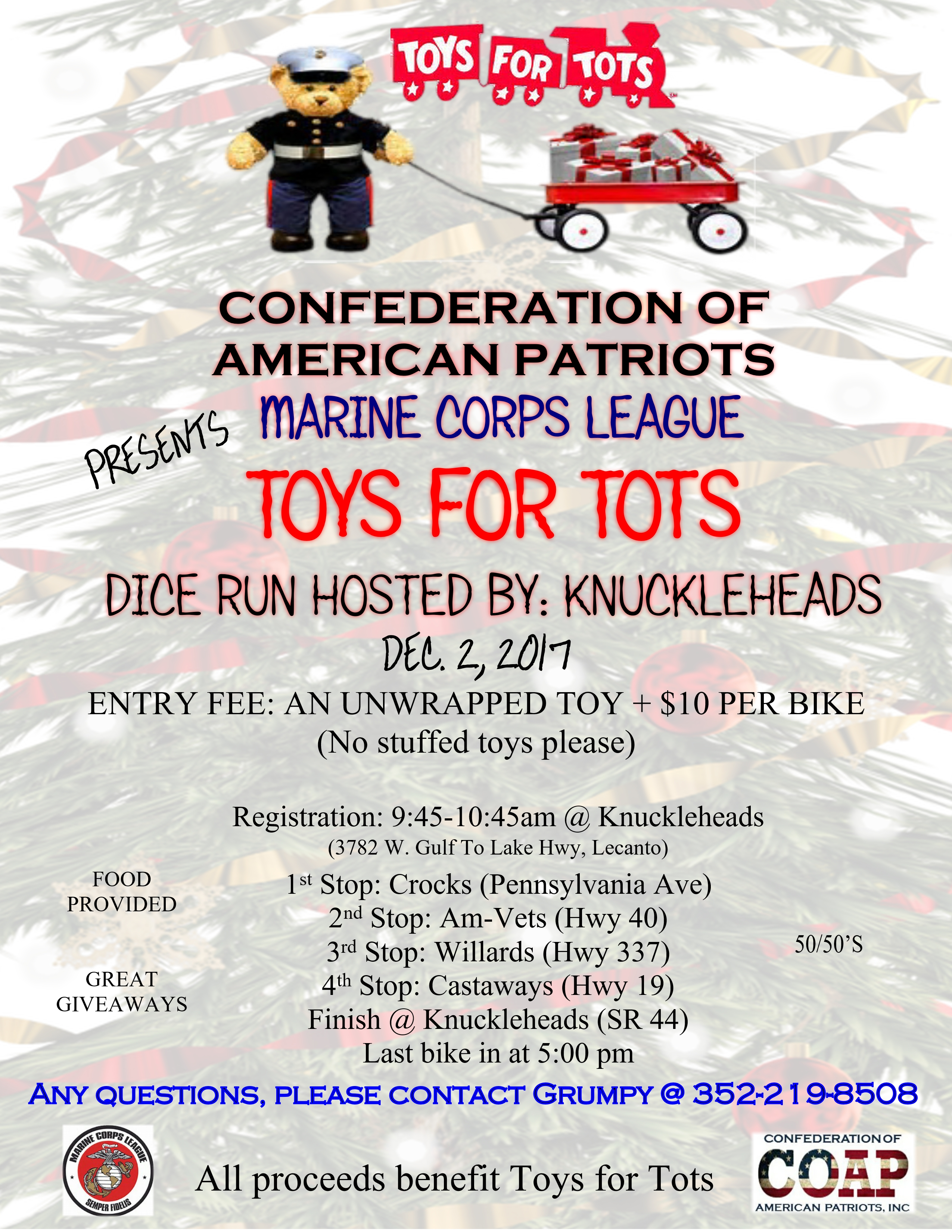 Toys For Tots Flyer 2017 : Toys for tots dice run the fox