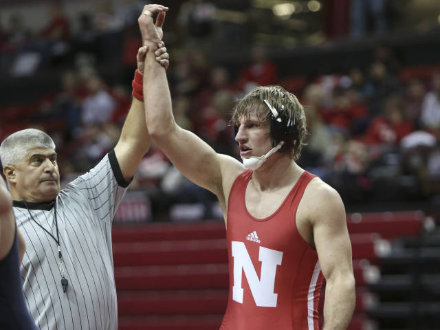 Aaron Studebaker (197) became the 26th wrestler to win 100 career matches at Nebraska. (Photo Courtesy of Stephanie Carpenter/Nebraska Communications)