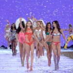 Models including Behati Prinsloo, front left, and Lily Aldridge, front right, walk the runway during the Victoria's Secret Fashion Show at the Lexington Armory on Tuesday, Nov. 10, 2015, in New York. The Victoria's Secret Fashion Show will air on CBS on Tuesday, Dec. 8, at 10pm EST. (Photo by Evan Agostini/Invision/AP)