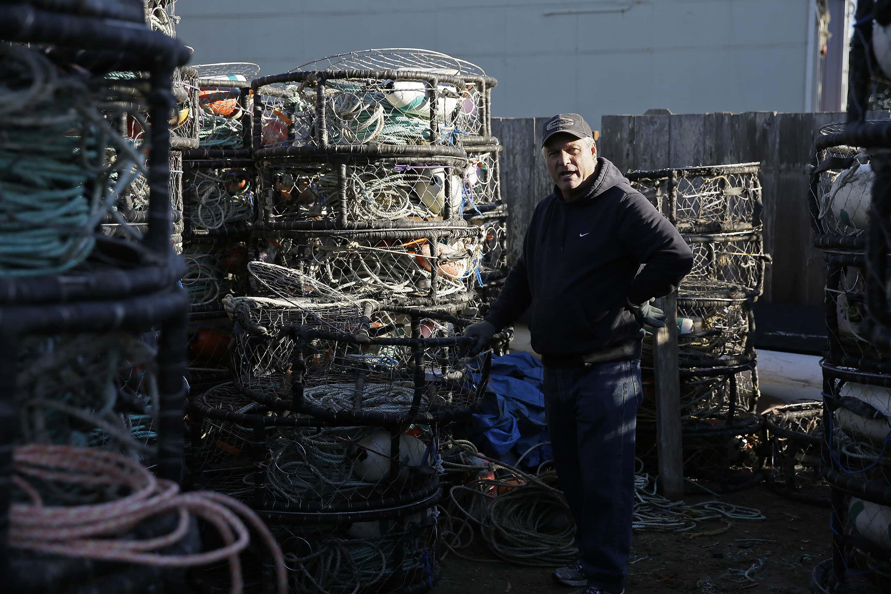 FILE - In this Nov. 12, 2015, file photo, crab fisherman Jim Anderson poses by his crab pots in Half Moon Bay, Calif. California Gov. Jerry Brown announced Friday, Sept. 23, 2016, that he signed legislation meant to bring down the record numbers of whales getting caught in fishing gear meant for Dungeness crabs, causing unknown numbers of the entangled mammals to drown or starve. (AP Photo/Eric Risberg, File)