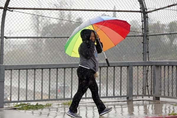 A pedestrian walks under the rain downtown Los Angeles, Friday, Jan. 20, 2017. The second in a trio of storms has arrived in California. Rain, heavy at times, is overspreading the state early Friday and a flash flood warning has been issued for southeastern Sonoma County. Storm warnings are posted up and down the Sierra Nevada and across the mountains of Southern California. (AP Photo/Damian Dovarganes)