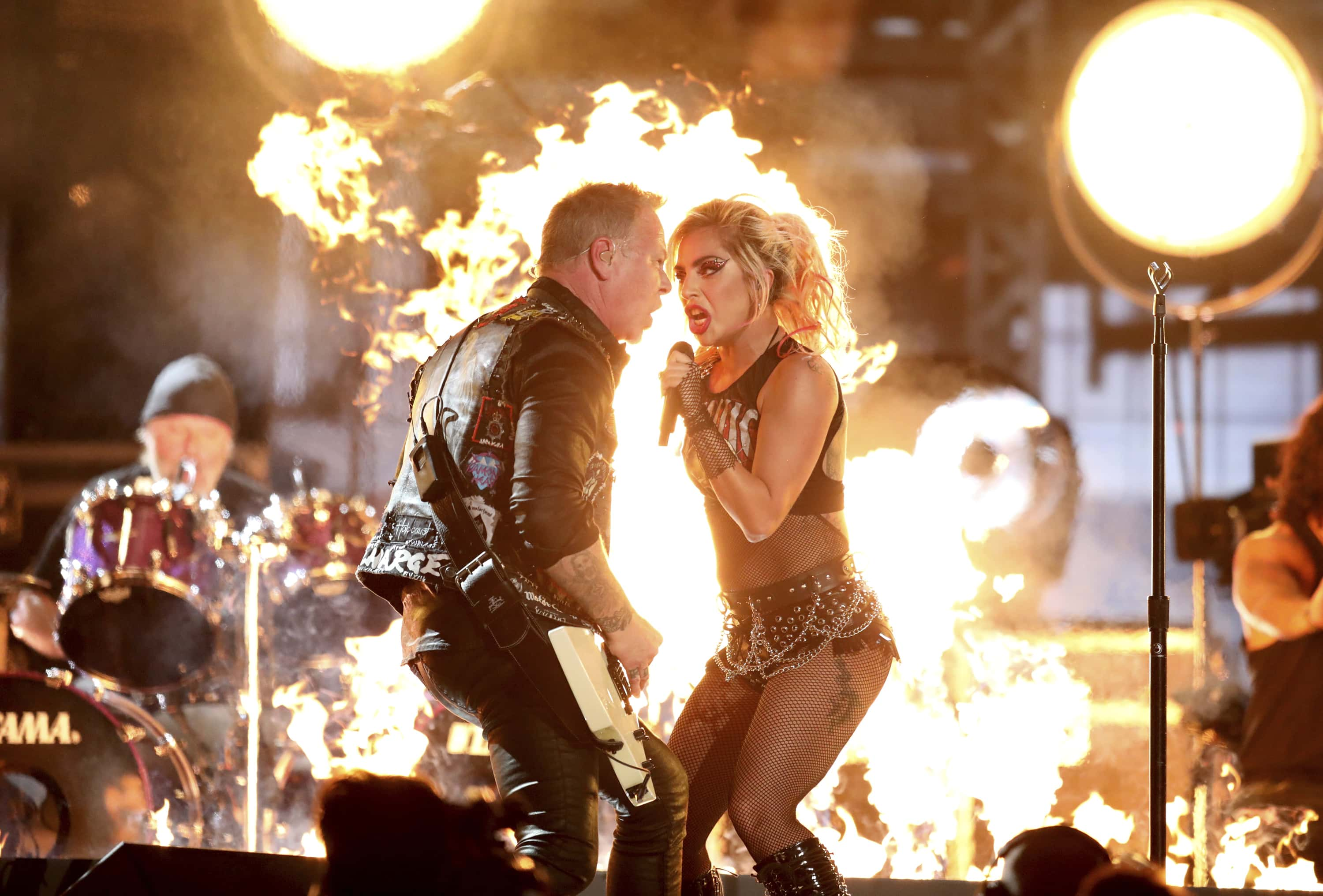 """Lady Gaga, right, and James Hetfield of """"Metallica"""" perform """"Moth Into Flame"""" at the 59th annual Grammy Awards on Sunday, Feb. 12, 2017, in Los Angeles. (Photo by Matt Sayles/Invision/AP)"""