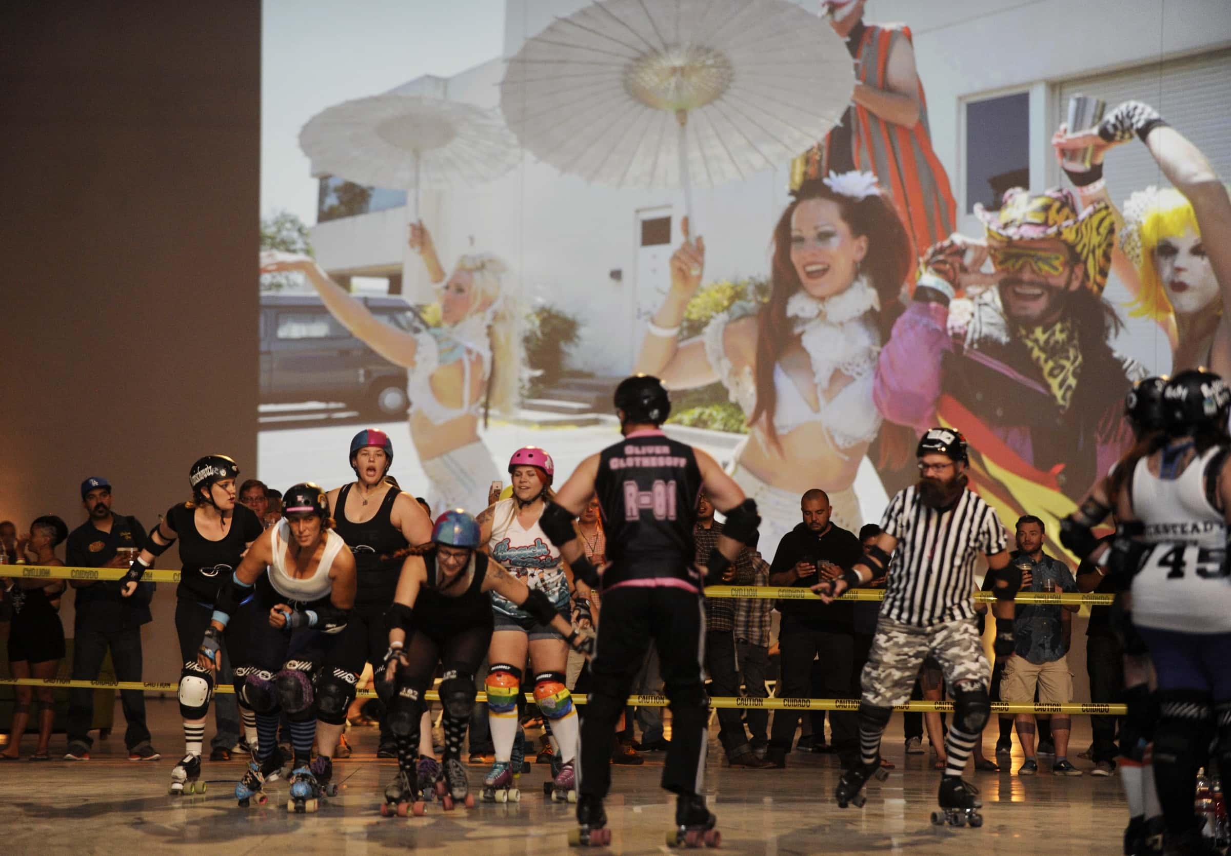 IMAGE DISTRIBUTED FOR LAGUNITAS BREWING COMPANY - Roller Derby girls meet Lagunitas Beer Circus as the Lagunitas Sneaky Peek party on Tuesday, April 19, 2016, in Azusa, Calif. Lagunitas/Azusa will open in 2017. (Carlos Delgado/AP Images for Lagunitas Brewing Company)