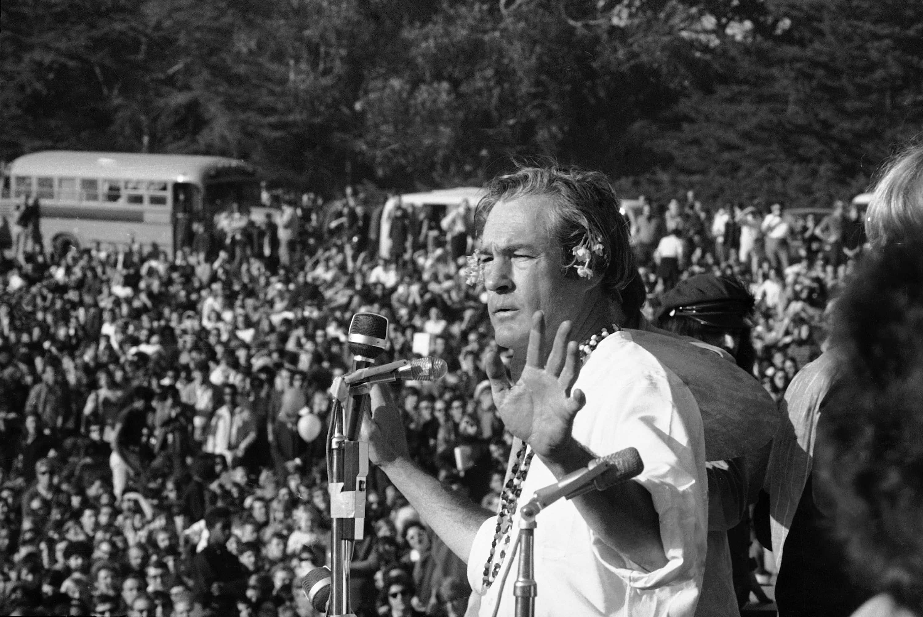 "FILE - In this Jan. 14, 1967, file photo, Timothy Leary addresses a crowd of hippies at the ""Human Be-In"" that he helped organize in Golden Gate Park, San Francisco, Calif. Leary told the crowd to ""Turn on, Tune in and Drop out"". The event was a prelude to the ""Summer of Love"", which brought the hippie experience into the American mainstream. City officials have rejected a permit for a planned free concert intended to mark the 50th anniversary of the famed Summer of Love in Golden Gate Park that had been planned for June. (AP Photo/Bob Klein, File)"