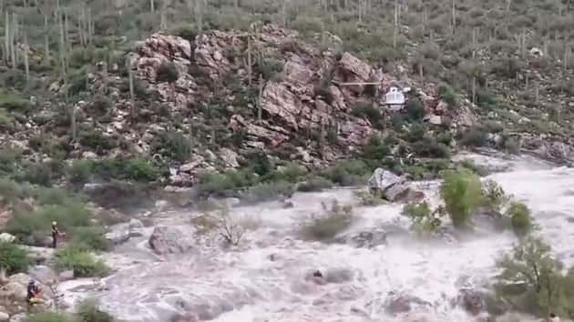 Helicopter helps in rescue of 17 hikers stranded by floodwaters near Tucson