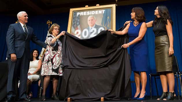 Pence back in IN for luncheon, official portrait unveiling