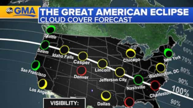 Cloud Cover Will Vary Across The US During Mondays Total Solar - Us cloud cover map