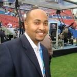 Freedom 93 Sports Director Elton Gumbel on an NFL set