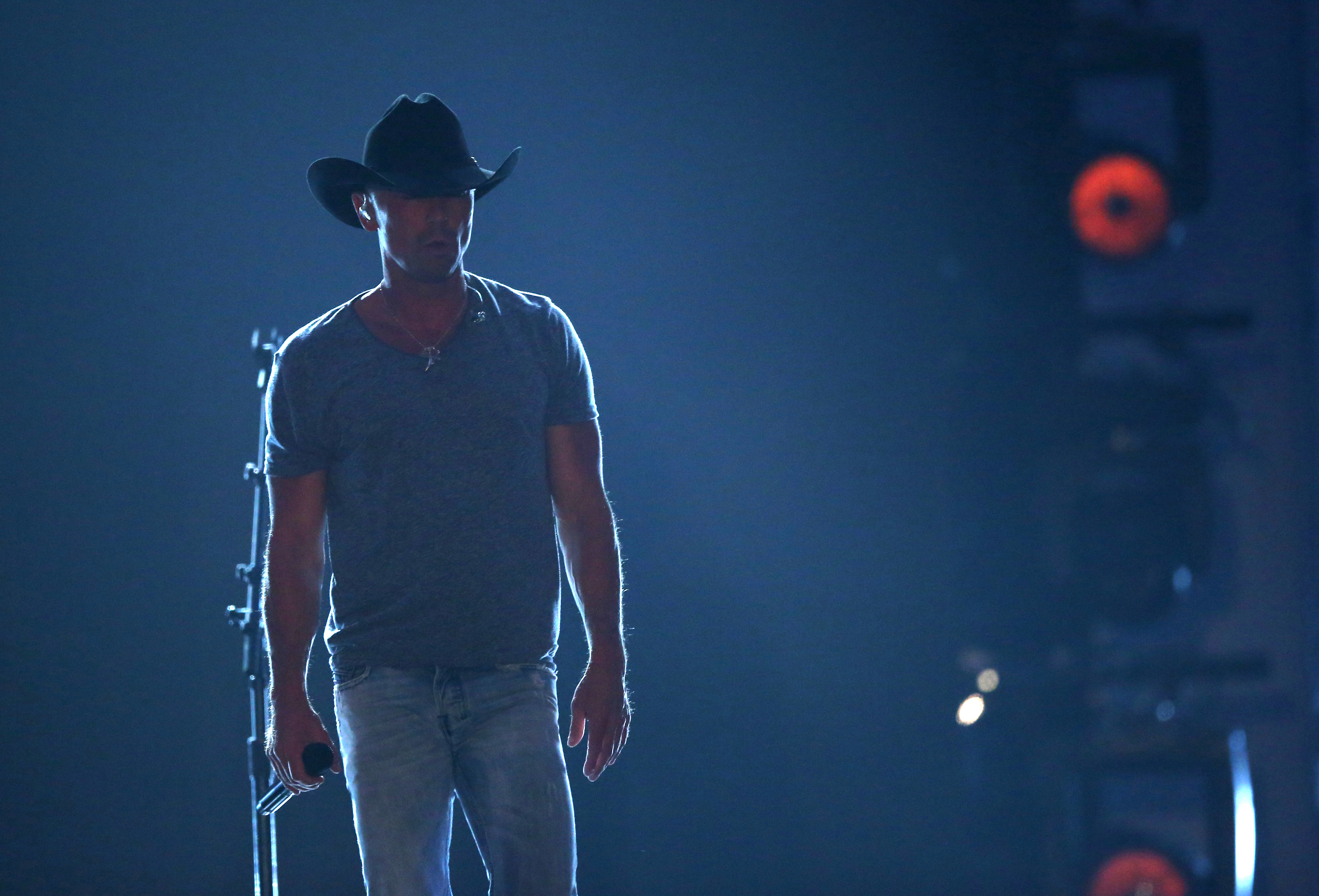 "Kenny Chesney performs ""Noise"" at the 51st annual Academy of Country Music Awards at the MGM Grand Garden Arena on Sunday, April 3, 2016, in Las Vegas. (Photo by Matt Sayles/Invision/AP)"