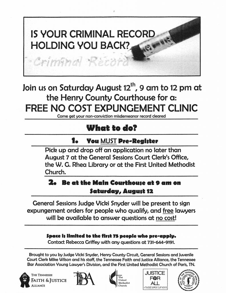 Free Expungement Clinic Upcoming | WENK-WTPR | KFKQ