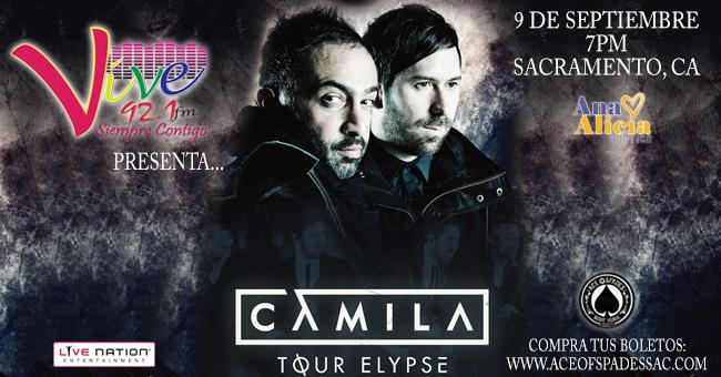 ¡Vive 92.1 fm presenta a Camila en Sacramento!