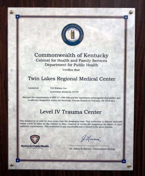 TLRMC designated as a Trauma Center | K105