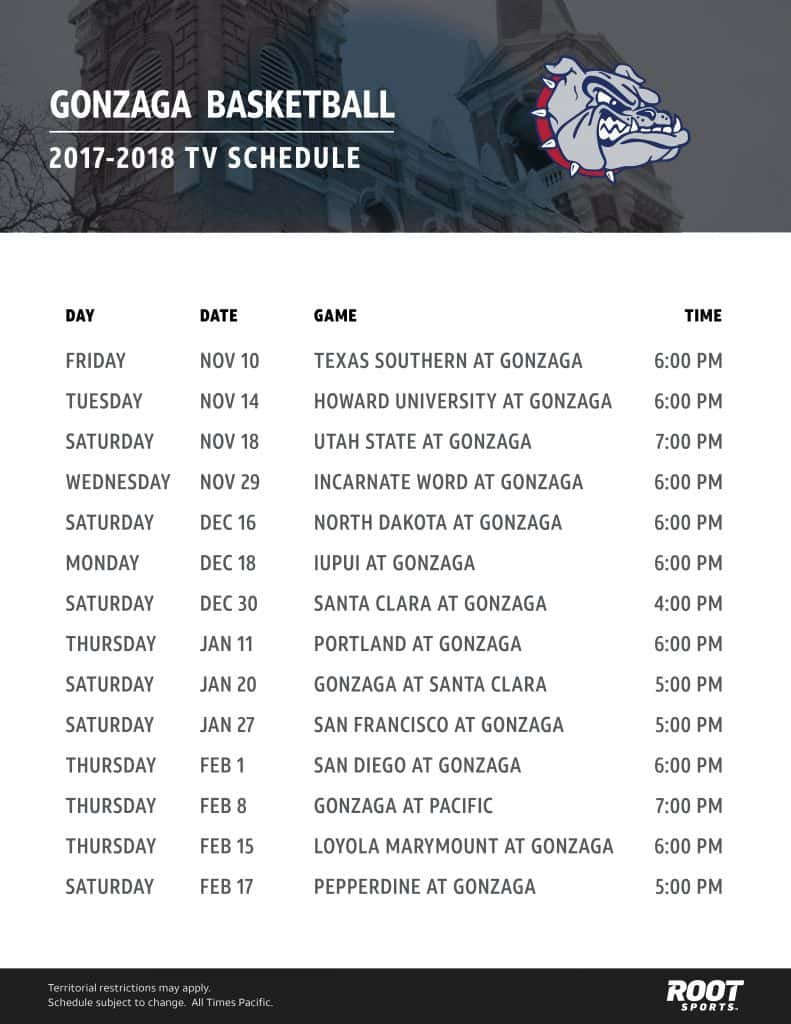 It's just a picture of Sweet Printable Gonzaga Basketball Schedule