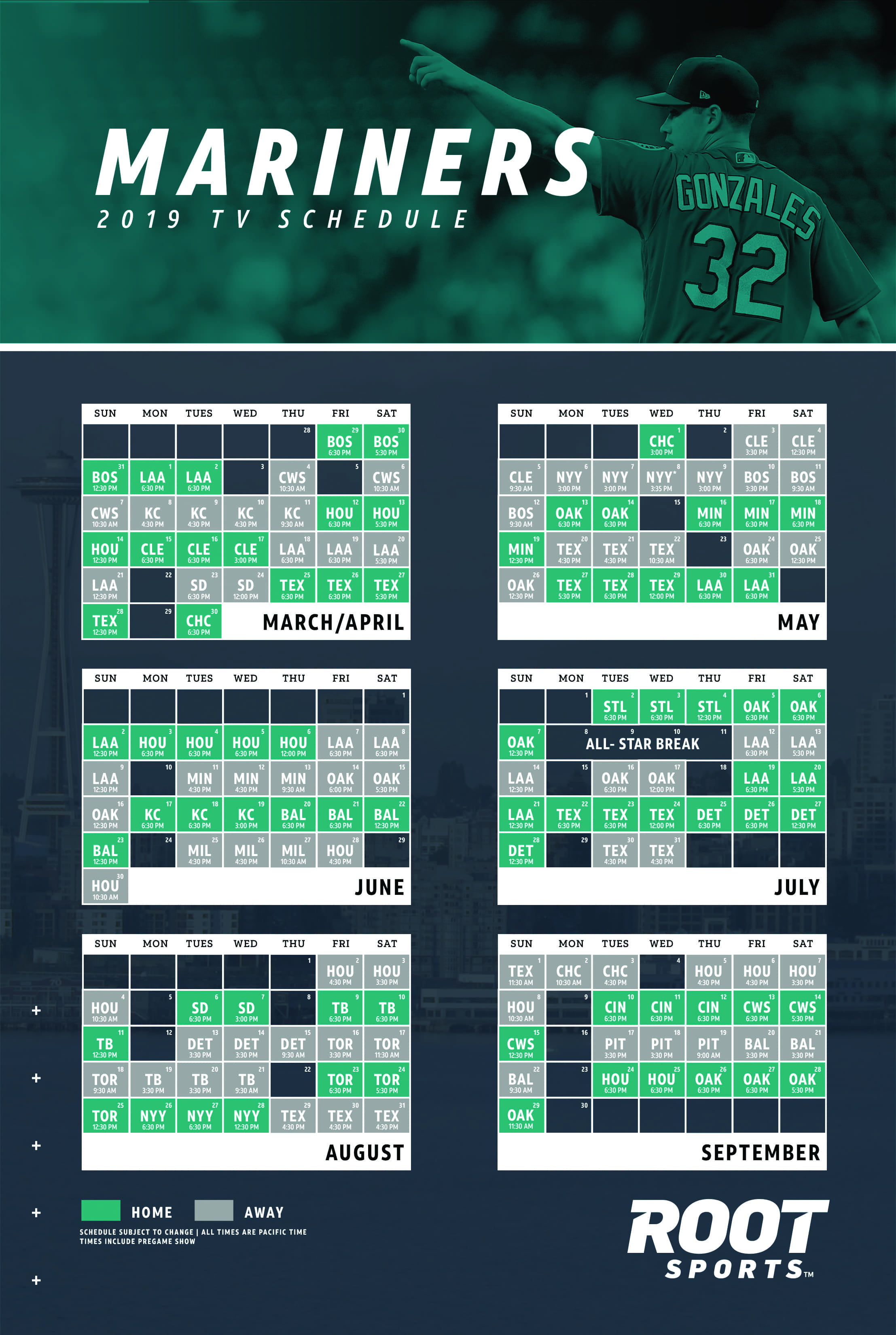 image relating to Printable Charter Channel Guide titled Seattle Mariners ROOT Athletics