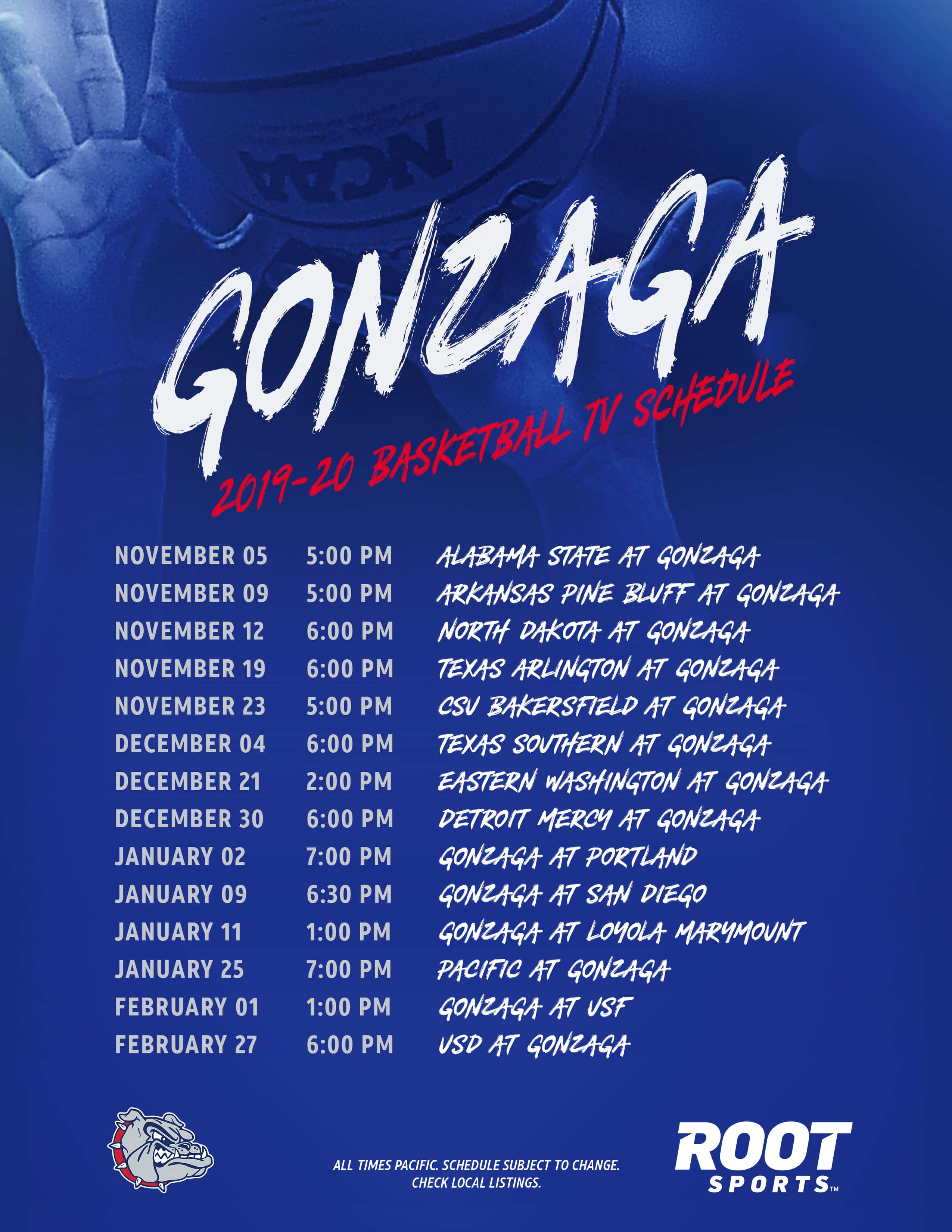 It is a picture of Clean Printable Gonzaga Basketball Schedule