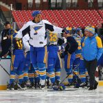 2017 Bridgestone NHL Winter Classic - Practice Day & Family Skate: ST. LOUIS, MO - JANUARY 1: Ryan Reaves #75 of the St. Louis Blues attempts to photobomb a group photo prior to the 2017 Bridgestone NHL Winter Classic Practice Day at Busch Stadium on January 1, 2017 in St. Louis, Missouri. (Photo by Dilip Vishwanat/Getty Images)