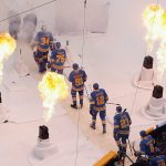 2017 Bridgestone NHL Winter Classic - Chicago Blackhawks v St Louis Blues: ST. LOUIS, MO - JANUARY 2: Members of the St. Louis Blues walk to the ice prior to the start of the 2017 Bridgestone NHL Winter Classic against the Chicago Blackhawks at Busch Stadium on January 2, 2017 in St. Louis, Missouri. (Photo by Scott Kane/Getty Images)