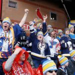 2017 Bridgestone NHL Winter Classic - Chicago Blackhawks v St Louis Blues: ST. LOUIS, MO - JANUARY 2: Fans cheer after the St. Louis Blues scored a goal during the second period of the 2017 Bridgestone NHL Winter Classic against the Chicago Blackhawks at Busch Stadium on January 2, 2017 in St. Louis, Missouri. (Photo by Scott Kane/Getty Images)