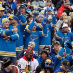 2017 Bridgestone NHL Winter Classic - Chicago Blackhawks v St Louis Blues: ST. LOUIS, MO - JANUARY 2: St. Louis Blues fans cheer during a power play during the third period of the 2017 Bridgestone NHL Winter Classic against the Chicago Blackhawks at Busch Stadium on January 2, 2017 in St. Louis, Missouri. (Photo by Scott Kane/Getty Images)
