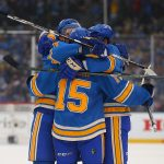 2017 Bridgestone NHL Winter Classic - Chicago Blackhawks v St Louis Blues: ST. LOUIS, MO - JANUARY 2: Members of the St. Louis Blues celebrate after scoring a goal against the Chicago Blackhawks during the 2017 Bridgestone NHL Winter Classic at Busch Stadium on January 2, 2017 in St. Louis, Missouri. (Photo by Dilip Vishwanat/Getty Images)