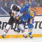 2017 Bridgestone NHL Winter Classic - Chicago Blackhawks v St Louis Blues: ST. LOUIS, MO - JANUARY 2: Jonathan Toews #19 of the Chicago Blackhawks and Alexander Steen #20 of the St. Louis Blues fight for control of the puck during the 2017 Bridgestone NHL Winter Classic at Busch Stadium on January 2, 2017 in St. Louis, Missouri. (Photo by Dilip Vishwanat/Getty Images)