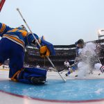 2017 Bridgestone NHL Winter Classic - Chicago Blackhawks v St Louis Blues: ST. LOUIS, MO - JANUARY 2: Jake Allen #34 of the St. Louis Blues looks to make a save against Ryan Hartman #38 of the Chicago Blackhawks during the 2017 Bridgestone NHL Winter Classic at Busch Stadium on January 2, 2017 in St. Louis, Missouri. (Photo by Dilip Vishwanat/Getty Images)