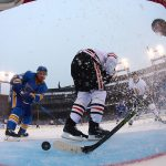 2017 Bridgestone NHL Winter Classic - Chicago Blackhawks v St Louis Blues: ST. LOUIS, MO - JANUARY 2: Duncan Keith #2 and Brent Seabrook #7 of the Chicago Blackhawks defend the goal against Jaden Schwartz #17 of the St. Louis Blues during the 2017 Bridgestone NHL Winter Classic at Busch Stadium on January 2, 2017 in St. Louis, Missouri. (Photo by Dilip Vishwanat/Getty Images)