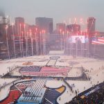 2017 Bridgestone NHL Winter Classic - Chicago Blackhawks v St Louis Blues: ST. LOUIS, MO - JANUARY 2: A general view during the National Anthem prior to the start of the 2017 Bridgestone NHL Winter Classic between the St. Louis Blues and the Chicago Blackhawks at Busch Stadium on January 2, 2017 in St. Louis, Missouri. (Photo by Scott Kane/Getty Images)