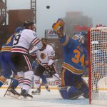 2017 Bridgestone NHL Winter Classic - Chicago Blackhawks v St Louis Blues: ST. LOUIS, MO - JANUARY 2: Jake Allen #34 of the St. Louis Blues makes a save against Jonathan Toews #19 of the Chicago Blackhawks during the 2017 Bridgestone NHL Winter Classic at Busch Stadium on January 2, 2017 in St. Louis, Missouri. (Photo by Dilip Vishwanat/Getty Images)