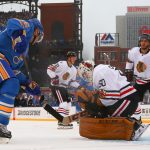 2017 Bridgestone NHL Winter Classic - Chicago Blackhawks v St Louis Blues: ST. LOUIS, MO - JANUARY 2: Corey Crawford #50 of the Chicago Blackhawks makes a save against Paul Stastny #26 of the St. Louis Blues during the 2017 Bridgestone NHL Winter Classic at Busch Stadium on January 2, 2017 in St. Louis, Missouri. (Photo by Dilip Vishwanat/Getty Images)