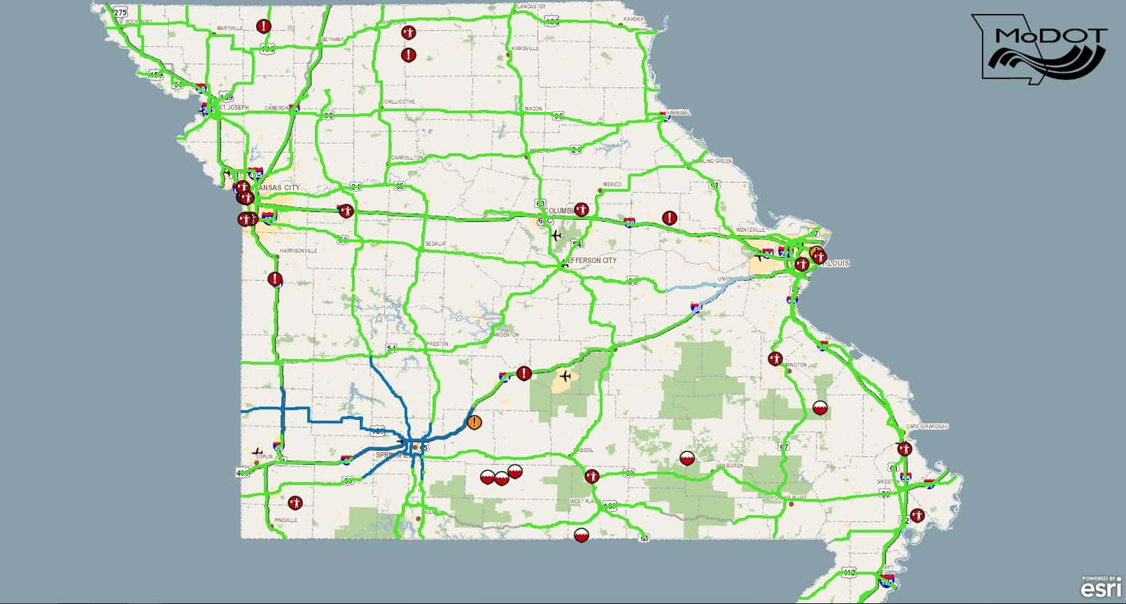 Modot Travelers Map Road Conditions; MoDOT Traveler Map | KTTS Modot Travelers Map