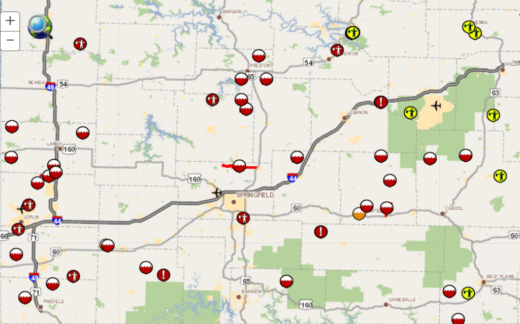 MoDOT: Several Roads Closed In SW MO Due To Flooding ... on caltrans state map, tdot state map, indot state map, txdot state map,