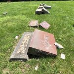 lee-cemetary-1: Vandalism at Lee Cemetery In Verona/ Courtesy Lawrence County Sheriff